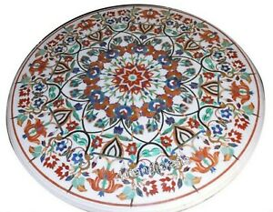 Multi Gemstones Inlaid Dining Table Top Marble Restaurant Table Size 60 Inches