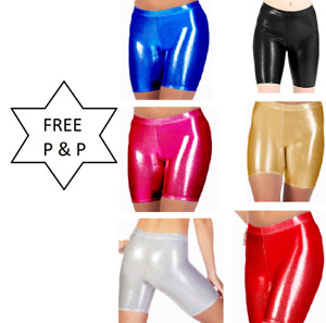 Ladies and Childrens Shiny Metallic Cycling Shorts (Kids and Adults Sizes)