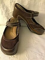 BASS 9M Memphis Brown Suede Leather Round Toe SlipOn Mule Clogs w/Strap