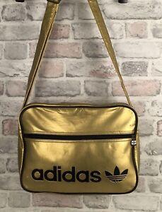 Adidas Shoulder Messenger Bag Vintage  Metallic Gold Black 90s Some Damage