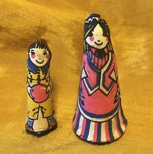 "2 Vtg ANNE WILKINSON DESIGNS Cloth Finger Puppets Characters ""Mother"" & ""Henry"""