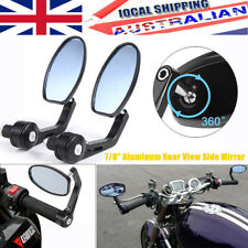 "7/8"" Aluminum Rear View Side Mirror Handle Bar End Oval Black For Motorcycle"