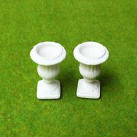 2pcs Dollhouse Ceramics Garden Flower Pots Miniature 1/12 Scale