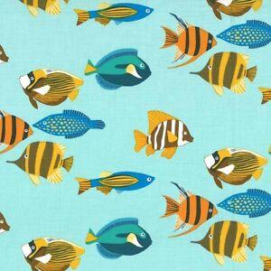 Blue FISHTOPIA Michael Miller fabric cotton tropical clown angel fish ocean