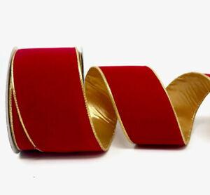 "63mm (2.5"") WIRED EDGE RED/GREEN/GOLD METALLIC VELVET DOUBLE SIDED RIBBON"