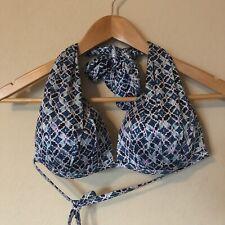 bd68413823f2c Athleta Bikini Top Swim Suit Lined Halter Padding Blue Size Medium