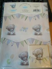 """2X Packs Me To You Tiny Tatty Teddy """"NEW BABY BOY"""" Gift Wrap Sheets And Tags x 2"""