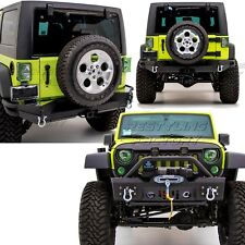 Rock Crawler Front+Rear Bumper+Full Width+Hitch+X-Plate for 07-17 Jeep Wrangler