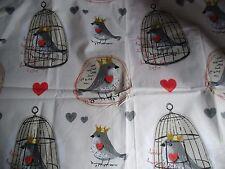 """coupon tissu  """"  oiseaux en cage """"  63 X 158 cm"""