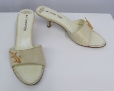 KAT CHOUTEAU MULES SHOES EGGSHELL BEIGE GOLD ALLIGATOR WITH PEARLS PIECE 36 6