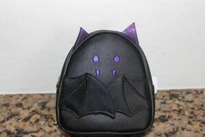 Bath & Body Works Black & Purple Bat Cosmetic Bag~Halloween~Vampire Bat~