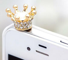 3.5mm Cute Crystal Gold Crown Anti Dust Earphone Jack Plug For iPhone 4S/5S/5C a