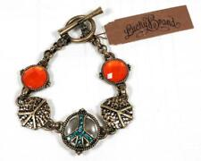 Lucky Brand Peace Bracelet Antiqued Gold Tone Orange Turquoise Toggle Clasp NEW