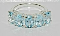 Sterling Silver Aqua Blue Topaz 5 Stone Ring - Real 925 Silver - All Sizes