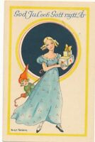 CHRISTMAS and NEW YEAR – Ekstam Signed Holding Presents Miniature Postcard