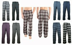 Mens Pajama Pants Lightweight Soft Flannel Plaid Lounge Sleep Bottoms, 2 Pockets