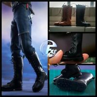 1/6 Male Solider Long Boots Black Leather Boots Shoes Fit Doll Feet Movable