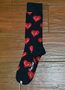 Happy Socks Black With Red Smiling Hearts Print Socks Size Women's 9-11