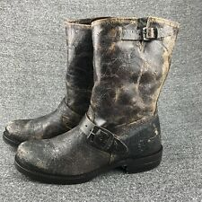 Mens Size 8 Frye Distressed Brown Leather Harness Boots