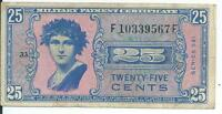 MPC Series 541 Military Payment Certificate 25 cents CH AU #9567F Historic Rare