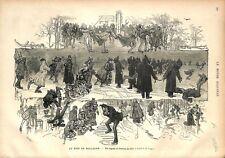 Traîneau Patins à Glace Lac du Bois de Boulogne Patineurs GRAVURE OLD PRINT 1876