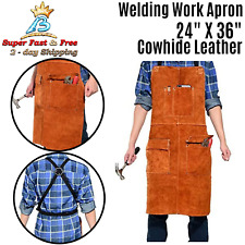 Leather Welding Welder Apron Blacksmith Mechanic Protective Working Gear Brown