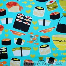 BonEful Fabric FQ Cotton Quilt Oriental Asian Fish SUSHI Chef Japan Cook Ethnic