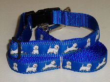 WESTIE COLLAR&LEASH SET BLUE PLAYFUL FREE SHIP USA