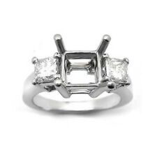 0.42 PRINCESS CUT 3 STONE DIAMOND RING SETTING MOUNTING