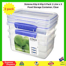 Sistema 3 Pack Food Storage Container Meal Prep Containers Plastic BPA Free NEW