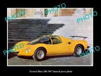 OLD LARGE HISTORIC PHOTO OF FERRARI DINO 206 1967 LAUNCH PRESS PHOTO 1
