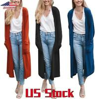 Women Full Length Maxi Cardigan Open Front Sweater Long Sleeve Knitted Coats US