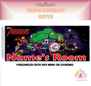 Marvel superhero  personalised door plaque gift free uk postage Christmas gift