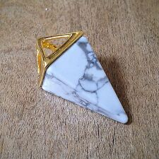 Marble Diamond Pendant w/ 24K Gold Plated Brass Bezel Geometric Boho Gemstone