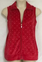 Quacker Factory Size M Vest Top XL - 1X Msmnts Embroidered Beads Velvet Feel QVC