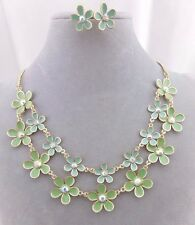 Fashion Jewelry Necklace Set Layered Green Flowers Rhinestone Centers Gold NEW