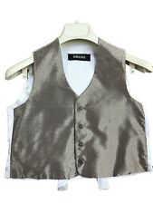 Boys wedding formal pageboy waistcoat gold with off white cream