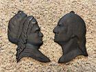 George & Martha Washington Silhouette Cast Iron Wall Hangings Black 645 & 646