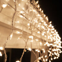 150 ct. Icicle String Lights Outdoor Christmas Icicle Lights, White Wire, 8.5 ft