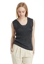 $298 NWT INHABIT Loose Knit Tank xs p Charcoal gray Linen Silk Vince-style