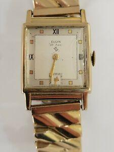 Vintage Elgin Deluxe Men's Wristwatch 17 jewels 10K gold filled case RUNS