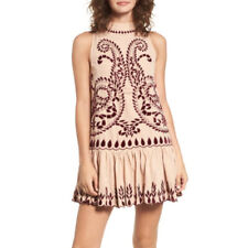 Kas New York Lauren Embroidered Dress Drop Waist Dress Stitched Detailing Mini