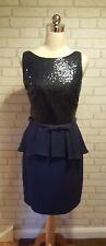 Untold Ladies Navy Blue Sequin & Woven Metallic Fabric Peplum dress UK 14 BNWT
