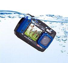 Polaroid iE090 Digital Camera, Blue 18MP Waterproof 4x-Zoom Dual LCD Screens New