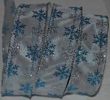 """Wired Ribbon~Sheer~Holiday Blue Sparkle Snowflake~1.5""""~Christmas Silver~White"""