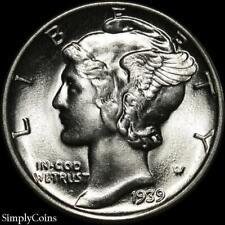 1939 Mercury Silver Dime ~ Gem Bu Uncirculated ~ Us Coin Mq