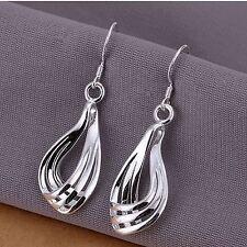 - UK-argento placcato Moda Donna 3 linee MOIRE Goccia/Dangle Earrings