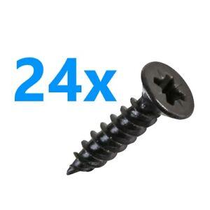 No.8 x 19mm Black Finish Countersunk Pozidriv Wood Screws - 24 Pack