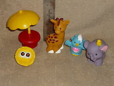Fisher Price Little People Zoo Lot: Giraffe, Table, Elephant, Bird, Nest