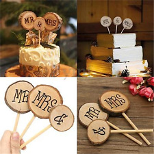 3pcs Mr & Mrs Wedding Wood Cake Topper Stick Rustic Decor Anniversary Party Gift